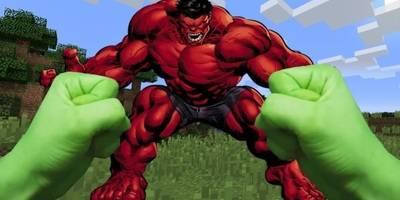 我的世界:真人版 菜鸟用枪大战红色的绿巨人?